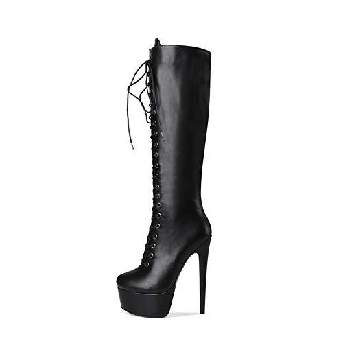 YOWAX Botas de tacón Alto para Mujer Tacón de Aguja Zapatos Negros con Cordones Delgados y Sexy Botas de tacón Alto de noche-42
