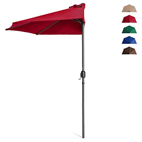 Best Choice Products 9ft Steel Half Patio Umbrella for Backyard, Deck, Garden w/ 5 Ribs, Crank Mechanism, UV- and Water-Resistant Fabric - Red