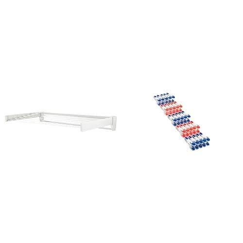 Leifheit Tendedero de Pared Telegant 81 Protect Plus, tendedero Extensible de diseño Compacto, tendedero de Ropa Plegable Ideal para baño o balcón + Percha AIRETTE 2000 LIMP-1045110, Blanco, Único