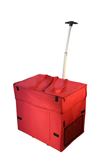 dbest products Wide Load Smart Cart, Red Rolling Multipurpose Collapsible Basket Cart Scrapbooking Laundry