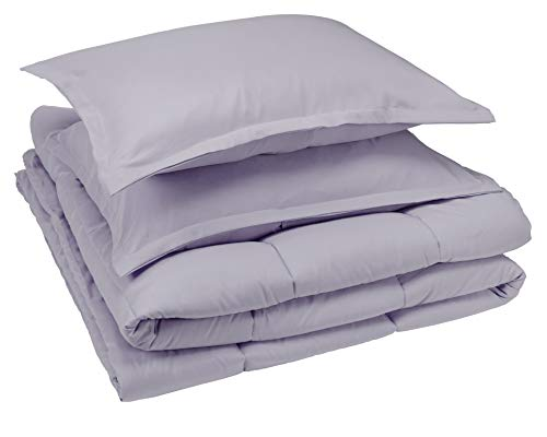 AmazonBasics Comforter Set, Full / Queen, Dark Grey, Microfiber, Ultra-Soft