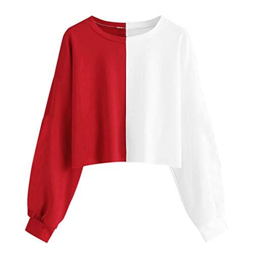 Sudaderas Mujer Casual Moda Corto Sudaderas Adolescentes Chicas Manga Larga Cuello Redondo Otoño Invierno Suéter Abrigo Hoodie Pullover Blusa Ropa Cálido riou