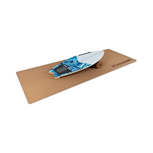 BoarderKING Indoorboard Wave - Tabla de Equilibrio, Forma Tabla de Surf, Madera Arce, Recubierto plástico, Esterilla y Rodillos de Corcho, Topes Desmontables, Dimensiones 32 x 5 x 88 cm, Azul/Blanco