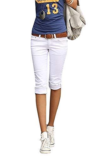 Ybenlover Damen Skinny Jeans Hose Caprihose Slim Fit Denim Leichte Sommerhose (M, Weiß)