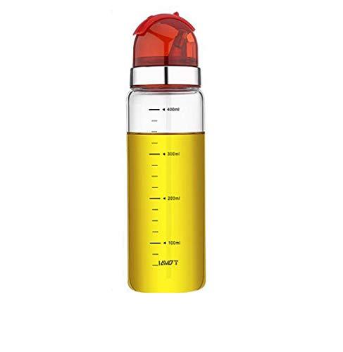 Botella Aceite, Dispensador de Vinagre y Aceite de Vidrio con Pico Vertedor, Dispensador de Aceite de Oliva con Tapón Anti-suciedad, 400ml rojo