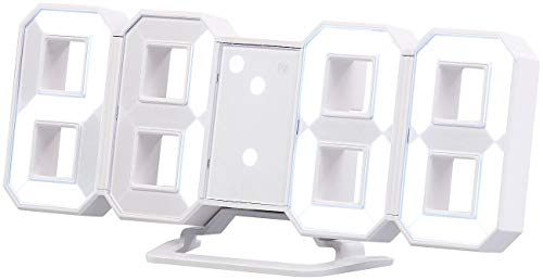 Lunartec Tischuhr: Große LED-Tisch- & Wanduhr, 7-Segment-Ziffern, dimmbar, Wecker, 21,5cm (Digitaluhr zum Aufstellen)
