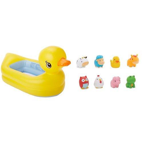 Munchkin White Hot Inflatable Duck Tub and Squiritin Farmyard Friends Bundle