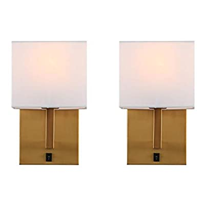 Indoor Bedside Wall Lamp Light, Yosoan 2-Pack Vintage Industrial Wall Sconce with Square Fabric Shade for Bedroom Living Room Dinning Room Hotel (Antique)