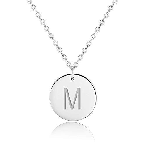 URBANHELDEN - Buchstaben-Kette - 925 Silber platiniert Damen-Kette mit deinem Wunschbuchstaben - Wunschgravur Alphabet - Personalisierte Buchstabenkette - Schmuck Silber - Buchstabe M