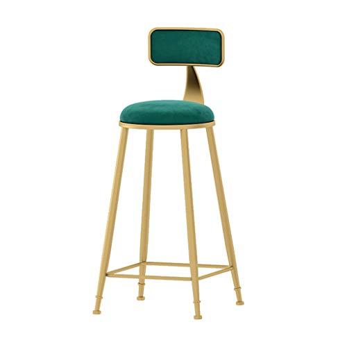 Flanellen barkruk, goud smeedijzeren hoge kruk met zachte tas rugleuning, hoge temperatuur bakwerk, voor Cafe Home Decoratie (zithoogte: 26/30 inch)