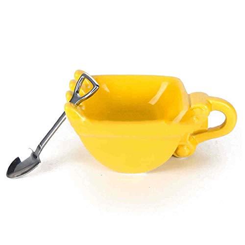 Digger Kaffeetasse, Personalisierte Digger Kaffeetasse 330 ML Bagger Eimer Tasse, Lustige Digger Kuchenbehälter Teetasse (Gelb)
