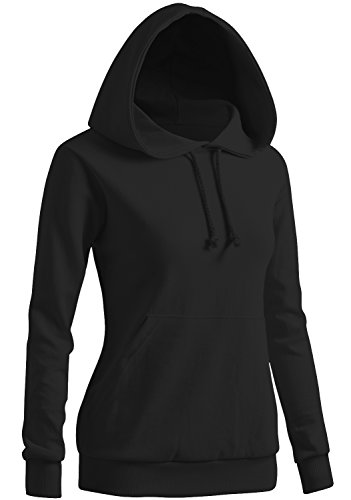 CLOVERY Women's Drawstring Long Sleeve Hoodie Black XXX-Large (fits like US XX-Large)