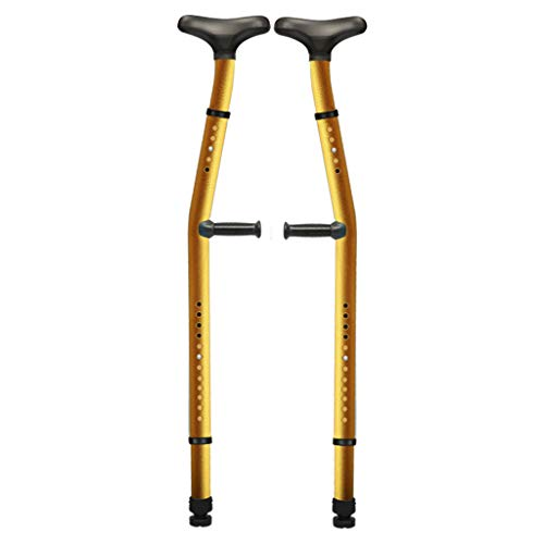 JYKOO Einstellbare ergonomische Unterarm-Doppelkrücken(1 Paar) Doppelfunktions-Stoßdämpfer-Achselstützen mit Armstütze Aluminiumlegierungsrohr Für alle Arten Leute oder beleibte Leute,Gold