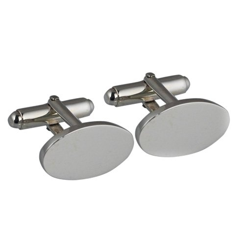 Boutons de manchette pivotantes plaine Argent 12x19mm ovale