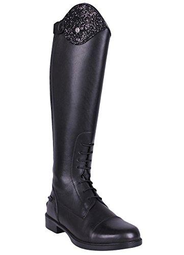 QHP Leder-Reitstiefel Romy für Kinder mit austauschbarem Design ! Schwarz, normale Wadenweite (37, Schwarz)