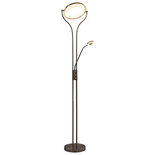 Tidyard Stehlampe Stehleuchte Standleuchte Leselampe Leseleuchte Bodenlampe Wohnzimmerlampe Lampe Leuchte 18W Silbern 180cm Dimmbar