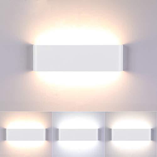 Lightess 16W Lampada da Parete Dimmerabili 3 Temperature di Colore Applique da Parete Interno Moderno Lampada LED Luce in Alluminio per Camera da Letto, Soggiorno, Corridoio, Bagno, Scale, Bianco
