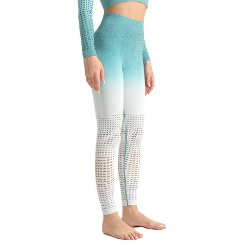 QTJY Pantalones de Yoga para Mujer degradados, Leggings de Cintura Alta para Ejercicio físico sin Costuras, Pantalones para Correr al Aire Libre E Medio