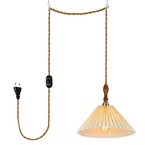 FSLiving Lámpara de techo con cable enchufable e interruptor de atenuación, moderna decoración minimalista con pantalla de tela para sala de estar, dormitorio, sala de lectura,color blanco leche