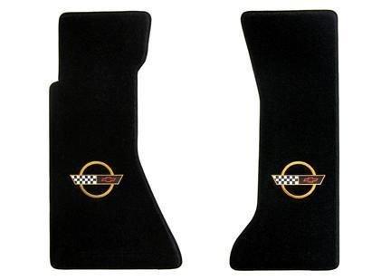 1991-94 C4 Corvette Classic Loop Black Floor Mats Gold Circle & Flags Logo