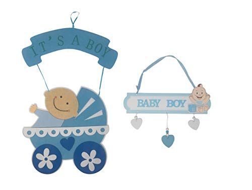 It's A Boy Hospital Door Hanger Sign For New Baby - Welcome Baby Decoration - Newborn Birth Announcement - Blue Baby Shower Decor - Set of Large and Small Hangers