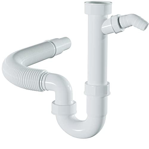 LOBENSWERK Siphon für Küchenspüle mit flexiblem Ablaufschlauch - 100{1f63a083a248718fdbe0945ab7f142fdf2bb274c4428961bcc5504144987d1c4} Wasserdicht - Röhrensiphon mit einem Geräteanschluss + Anschlussdichtungen