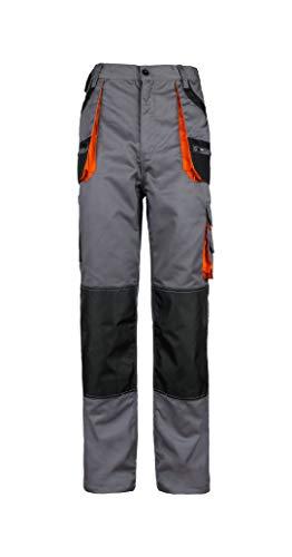 Stenso des-Emerton® - Herren Arbeitshose Bundhose/Cargohose mit elastischem Bund - Grau/Schwarz/Orange EU52