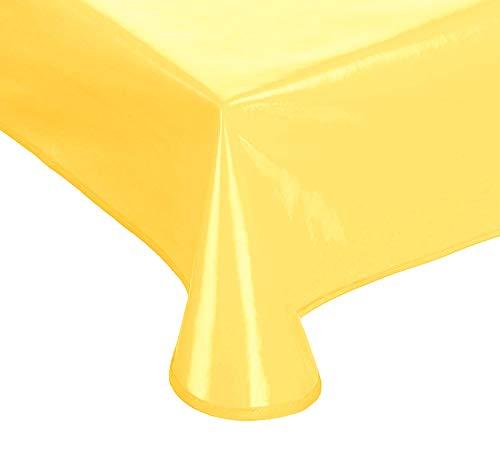 Schwar Textilien Lacktischdecke Gartentischdecke Küchentischdecke abwaschbar in vielen Fb.+ Gr. (gelb, 160 rund)
