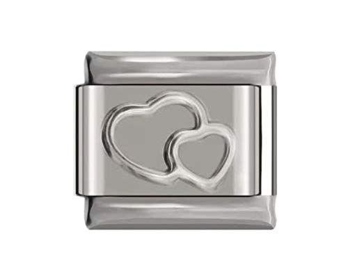 Double Heart Italian Charm link 9mm - Fits Barcelets Charms