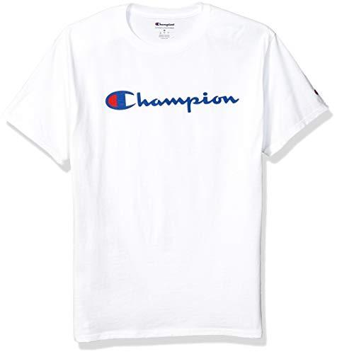Champion Men's Classic Jersey Script T-Shirt, White2, M