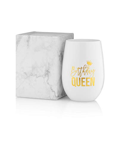 Birthday Queen Wine Glass - 100% Unbreakable Tritan Plastic White w/Real Gold Foil - 16 ounces - Birthday Wine Glass - 30th Birthday Gifts for Women