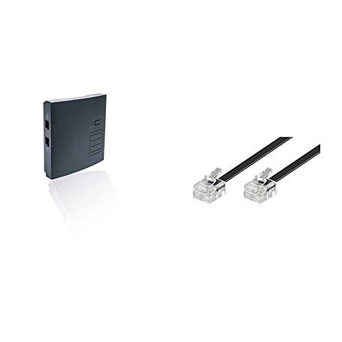 distybox 300 Telefonadapter universal Adapter für analoge schnurgebundene Telefone Fax Multifunktionsgeräte an DECT/Gap Basisstationen oder Router & Goobay 50317 Modularanschlusskabel 3 Meter, Schwarz