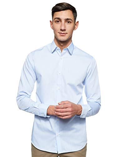 JACK & JONES Jprnon Iron Shirt L/s Noos Camicia Formale, Blu (Cashmere Blue Fit:Slim Fit), Medium Uomo