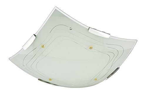 Briloner Leuchten Glas - Deckenleuchte, glänzendes Streifendekor mit Steinen amber-klar 4123-016