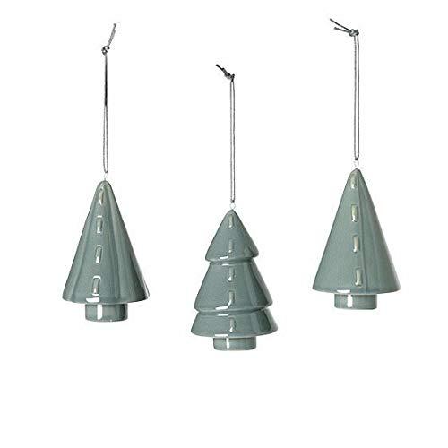 Broste Copenhagen Lot de 3 décorations de Noël en Porcelaine Motif Arbre Vert/Bleu