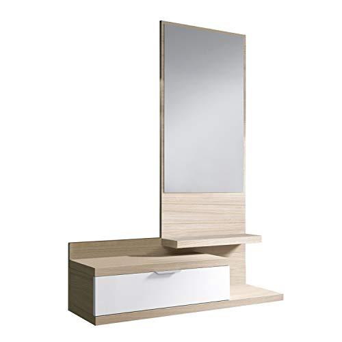Habitdesign Recibidor con Cajon y Espejo, Mueble de Entrada, Modelo Dahlia, Color Blanco Brillo y Nature, Medidas: 81 cm (Largo) x 116 cm (Alto) x 29 cm (Fondo)