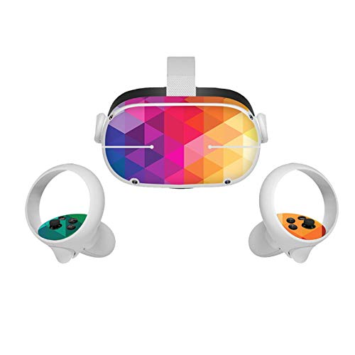 CALIDAKA All in One VR Glasses Skin Sticker Compatible with Oculus-Quest 2,Sweatproof Controller Grip Sticker,Non Slip Headset Skin Sticker Set Compatible with Oculus-Ques 2