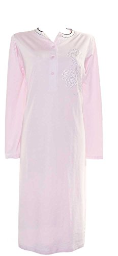 AdoniaMode Damen Nacht-Hemd Nachtkleid Sleepshirt Nachtwäsche Bigshirt nightware Nachthemd Kurzarm Rundhals Knopfleiste Langarm Frontprint Rosa Gr.36/38