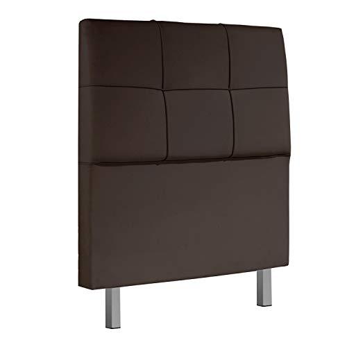 Adec - Chester, Cabecero Acolchado de Cama de Dormitorio Individual, Cabezal Acabado en símil Piel Color Chocolate, Medidas: 100 cm x 114 cm x 11 cm de Ancho