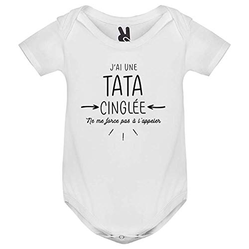LookMyKase Body bébé - J AI Une Tata cinglee - Enfant - Blanc - 6MOIS