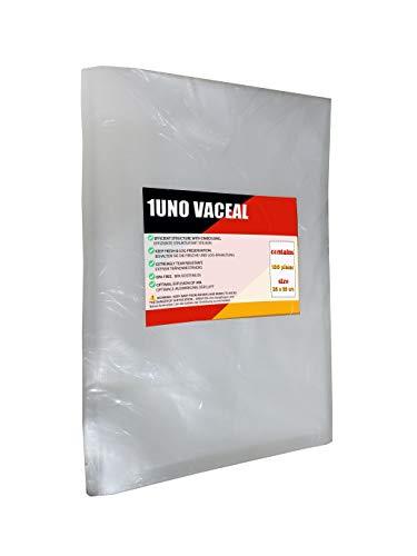 1UNO VACEAL Bolsas de envasado al vacío de 25 x 35 cm, 100 bolsas profesionales para envasadora al vacío y alimentos, sin BPA, muy fuertes y resistentes, aptas para cocinar al vacío, reutilizables.