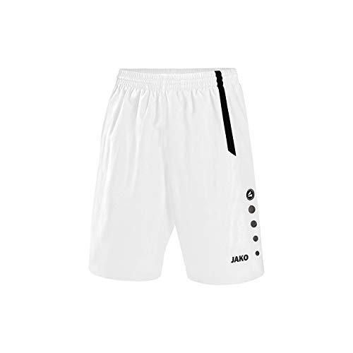 JAKO Kinder Fußball Sporthose Turin, Weiß/Schwarz, 128, 4462