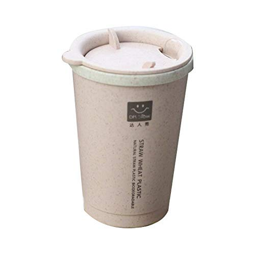 Vacío Thermal Copa de Trigo Fibra de Paja Handy Cup Estudiante Estudiante Estable Portátil Taza de Trigo Taza de plástico Taza, 280ml (Color: Azul) HMP (Color : Beige)