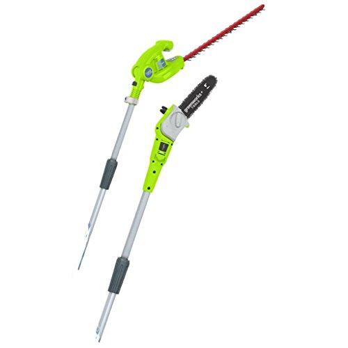 Greenworks Tools 2en1 Podador de altura y cortador de setos telescópico con batería G40PSH, Li-Ion 40 V 51 cm /20 cm longitud de espada 18 mm espesor 240 cm tubo telescópico, sin batería y cargador