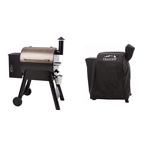 Traeger Grills Pro Series 22 Pellet Grill & Smoker | Bronze, Gen I, 572 Sq. In. Capacity | TFB57PZBO model & BAC503 Pro 575/22 Series Full Length Grill Cover, Black