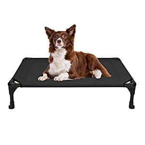 Veehoo Cooling Elevated Dog Bed, Portable Raised Pet Cot with Washable & Breathable Mesh, No-Slip Rubber Feet for Indoor & Outdoor Use, Medium, Black