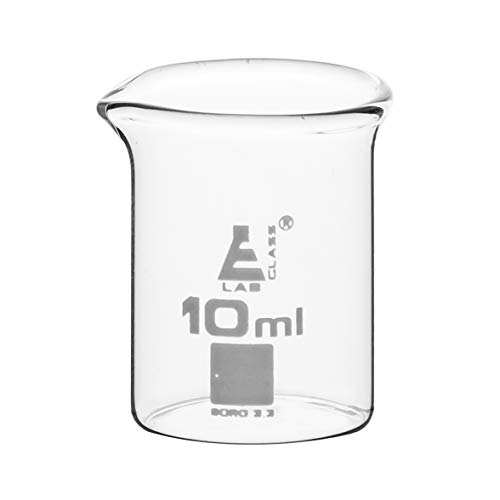 Beaker, 10ml - Low Form with Spout - Ungraduated - Borosilicate 3.3 Glass - Eisco Labs