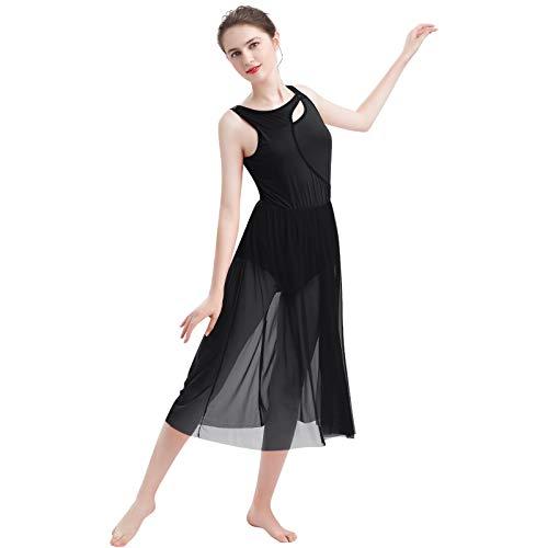 FYMNSI Damen Lyrisch Tanz Kleid Ärmellos Tüll Maxikleid Lyrische Modern Contemporary Tanzkostüm Trikot Latein Ballett Tüllkleider Ballettanzug Bühnenanzug Tanzkleidung Schwarz M