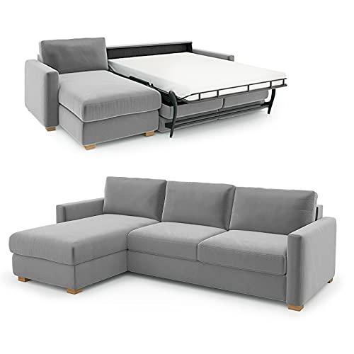 place to be. Schlafsofa 140 cm breit mit Bettkasten 3 Sitzer Sofa mit Schlaffunktion ausklappbar Gästebett mit Recamiere Links Hellgrau