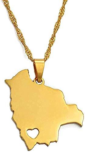 ZGYFJCH Co.,ltd Collar Bolivia Mapa Colgantes y Collares para Mujer Color Oro mapas bolivianos joyería